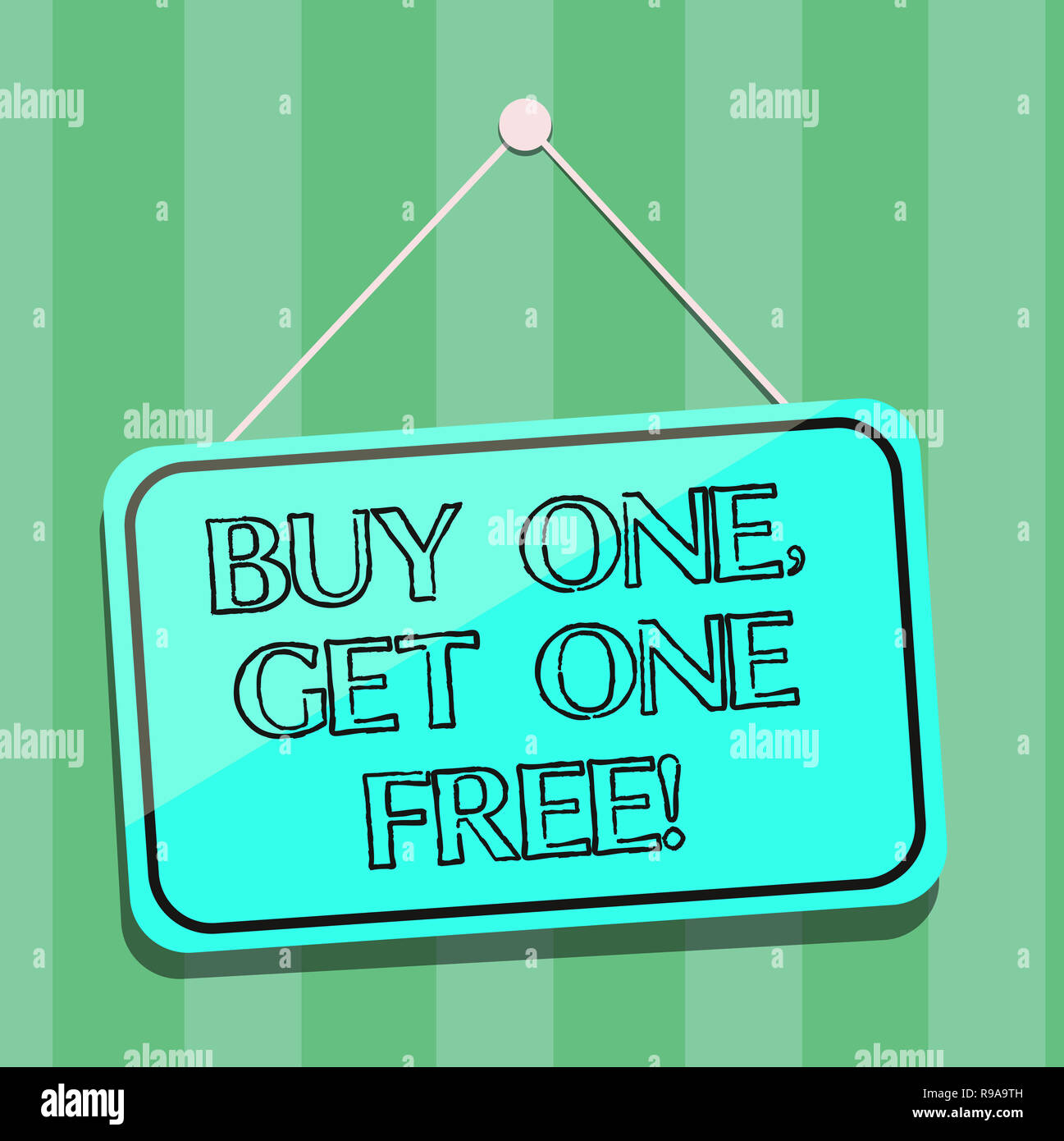 Handwriting text writing Buy One Get One Free  Concept meaning