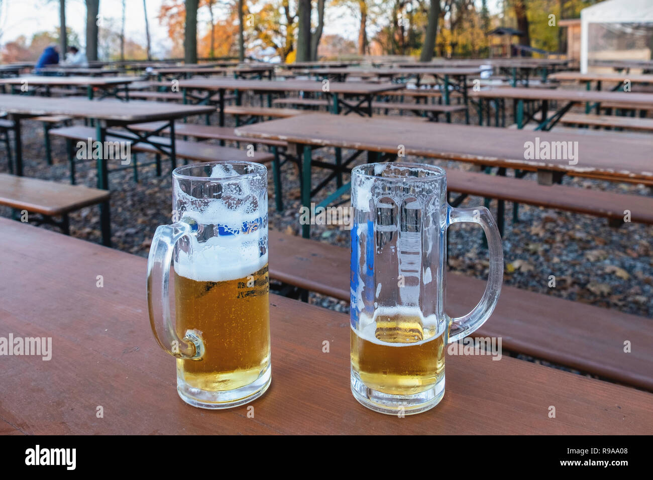 berli, Wannsee. Lorreta restaurant beer garden. Two beer glasses on table in Autumn. Empty tables - Stock Image