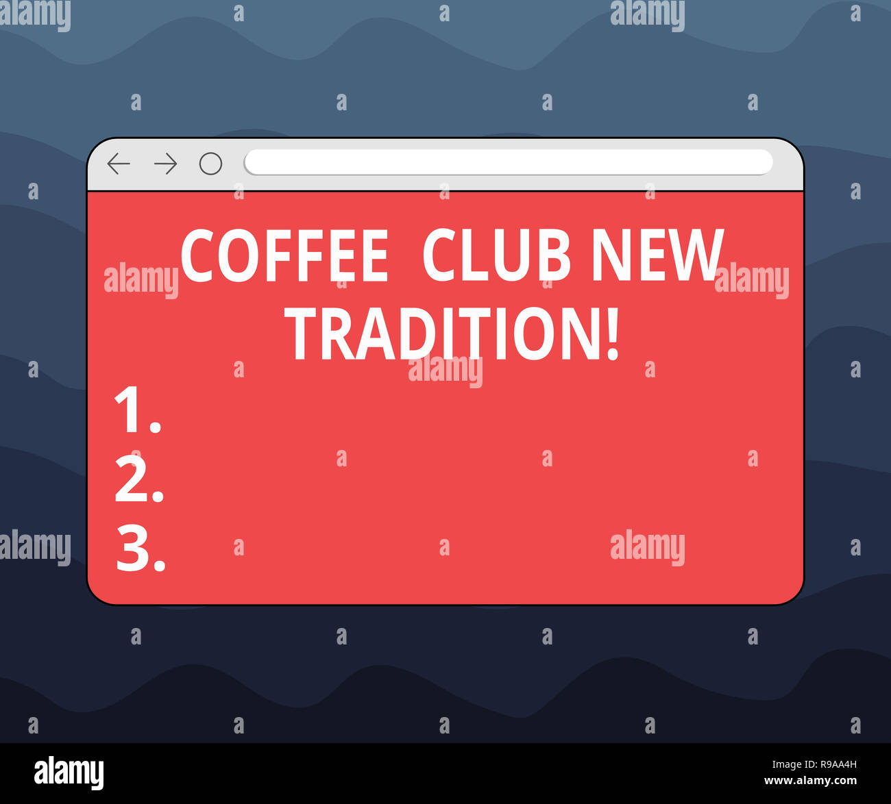 Writing note showing Coffee Club New Tradition. Business photo showcasing Hanging out with your friends as a routine Monitor Screen with Progress Cont - Stock Image