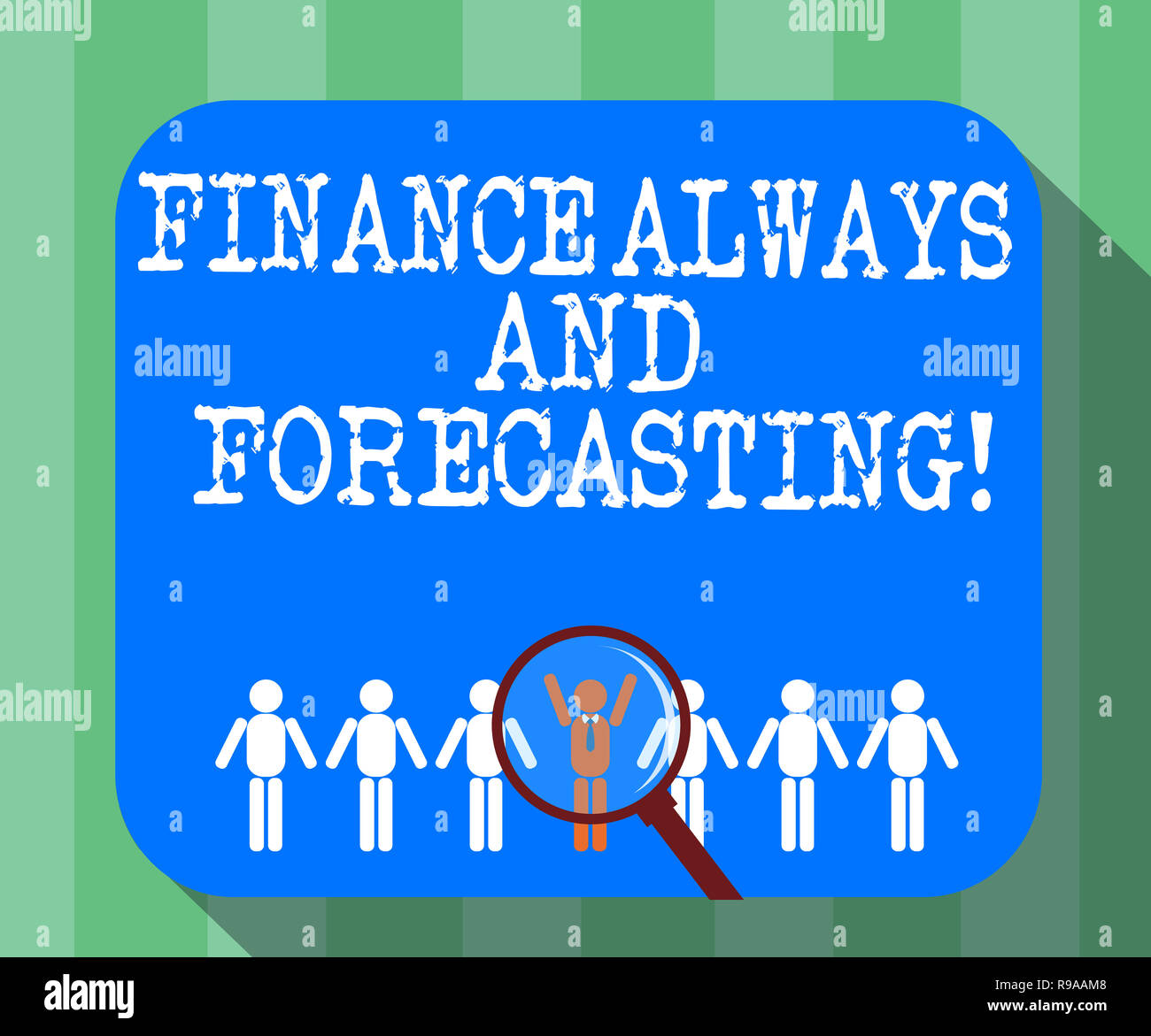 Handwriting Text Finance Always And Forecasting Concept Meaning Business Financial Forecast Money Predictions Magnifying Glover Chosen Man Figure