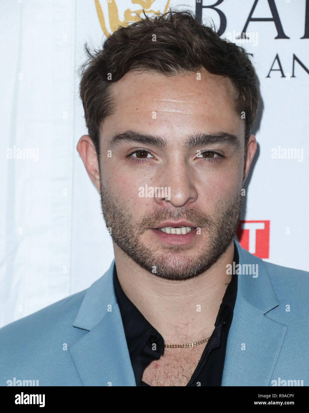BEVERLY HILLS, LOS ANGELES, CA, USA - SEPTEMBER 16: Actor Ed Westwick  arrives at the BBC America BAFTA Los Angeles TV Tea Party 2017 held at the Beverly Hilton Hotel on September 16, 2017 in Beverly Hills, Los Angeles, California, United States. (Photo by Xavier Collin/Image Press Agency) - Stock Image