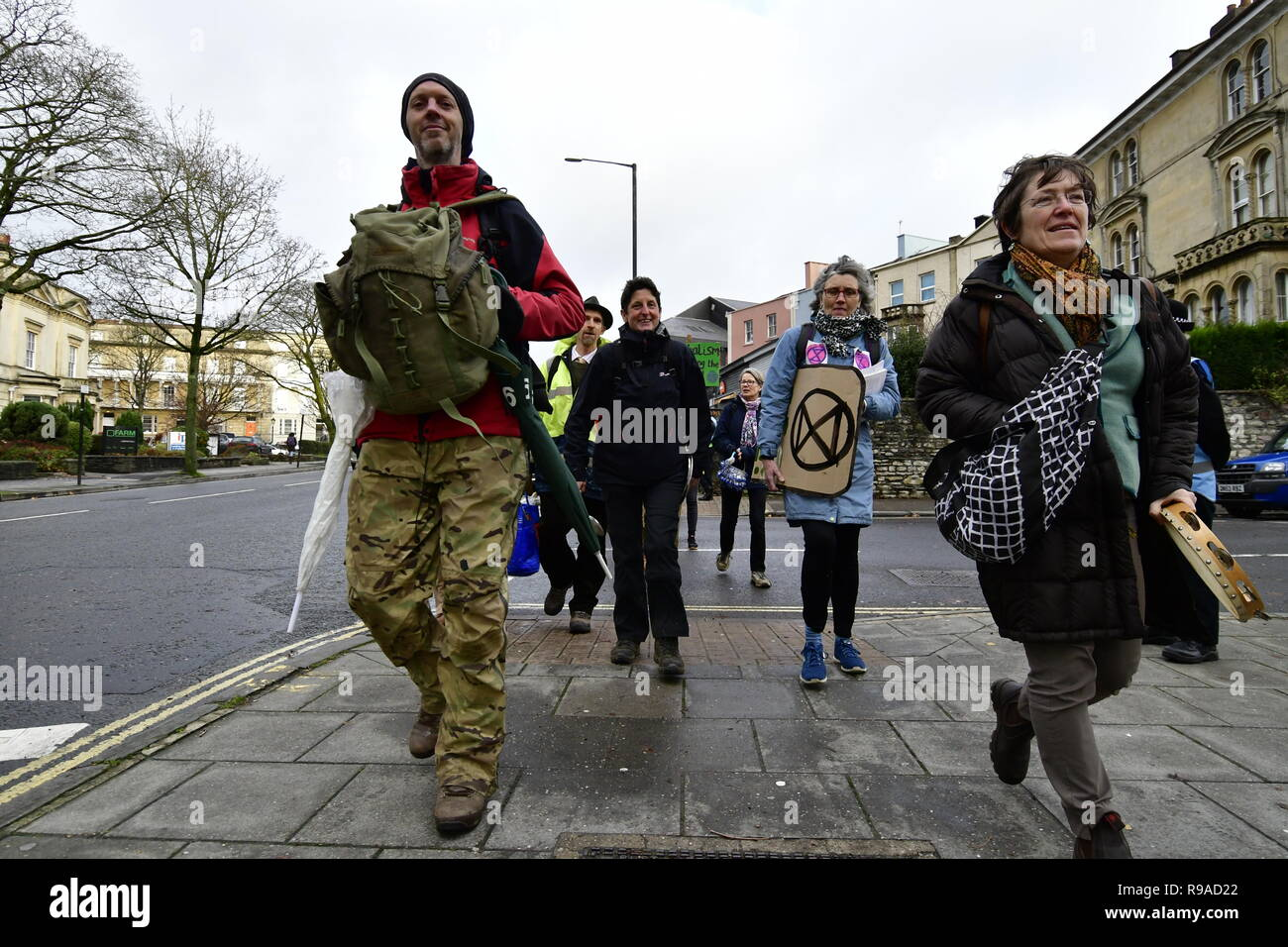 Bristol, UK. 21st December, 2018. Day of Action Protest demo outside of the B.B.C. Bristol, by people of Bristol Extinction Rebellion. Grandparents have been locked together since 0700 Hrs tis morning. Credit: Robert Timoney/Alamy Live News - Stock Image