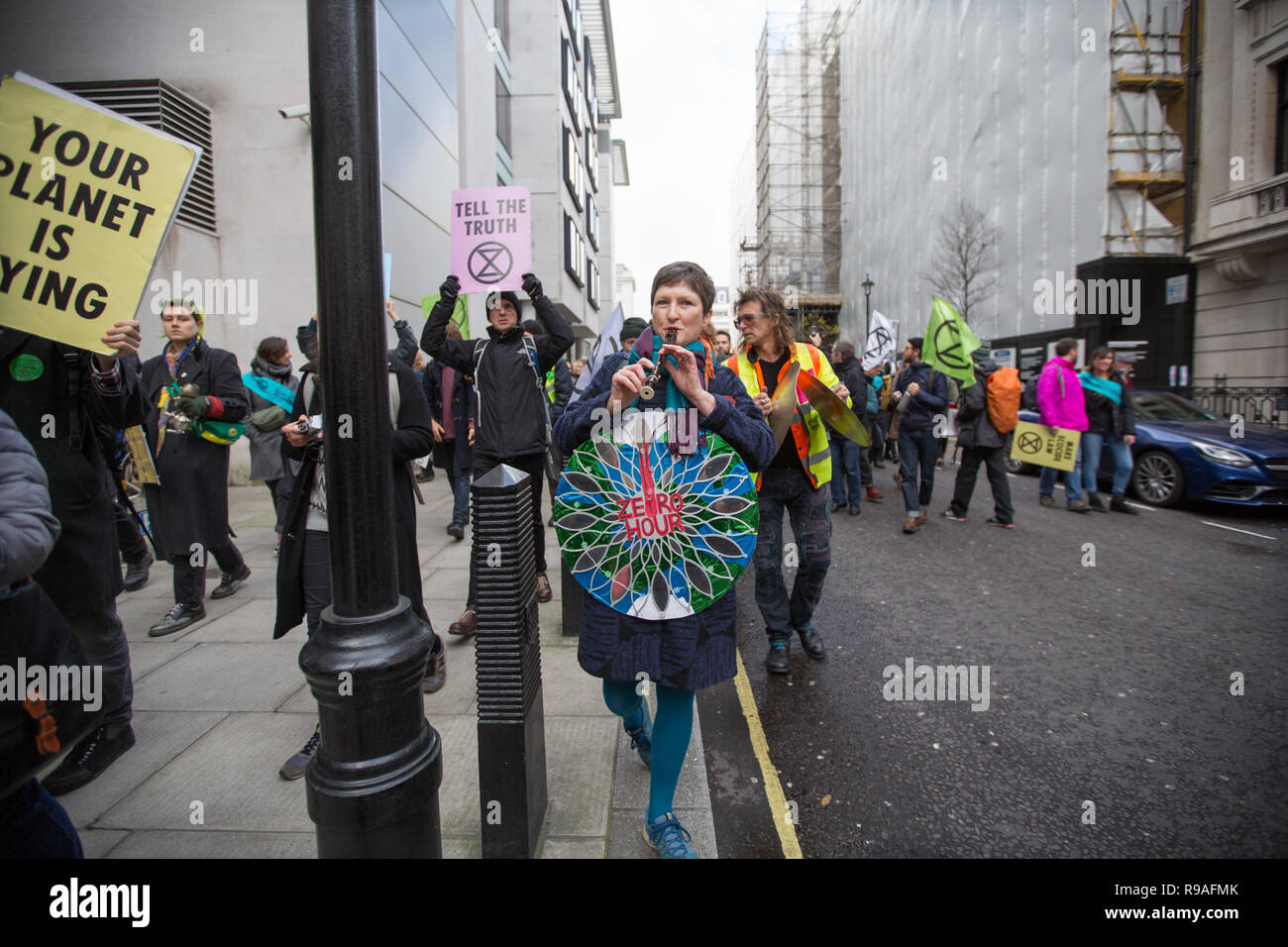 London, UK. 21st December, 2018. Extinction Rebbelion protest about climate change and the way it is portrayed in the media Credit: George Cracknell Wright/Alamy Live News Stock Photo