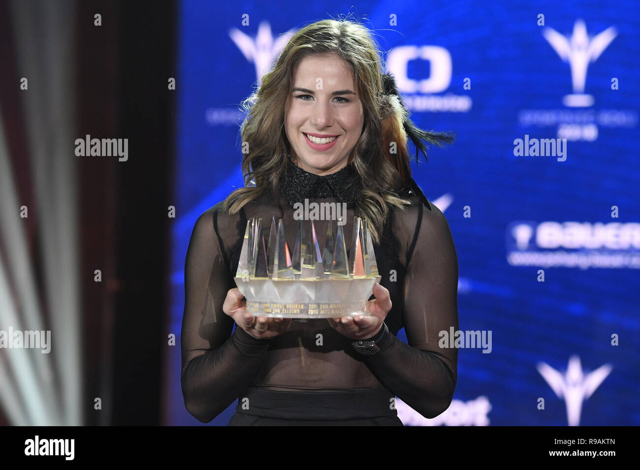 Prague, Czech Republic. 21st Dec, 2018. Snowboarder and skier Ester Ledecka, 23, a double Olympic winner, became the Czech Champion of Sports 2018, winning the annual poll of sport journalists much ahead of other athletes, the organisers announced at a gala ceremony in Prague, Czech Republic, December 12, 2018. Credit: Ondrej Deml/CTK Photo/Alamy Live News - Stock Image