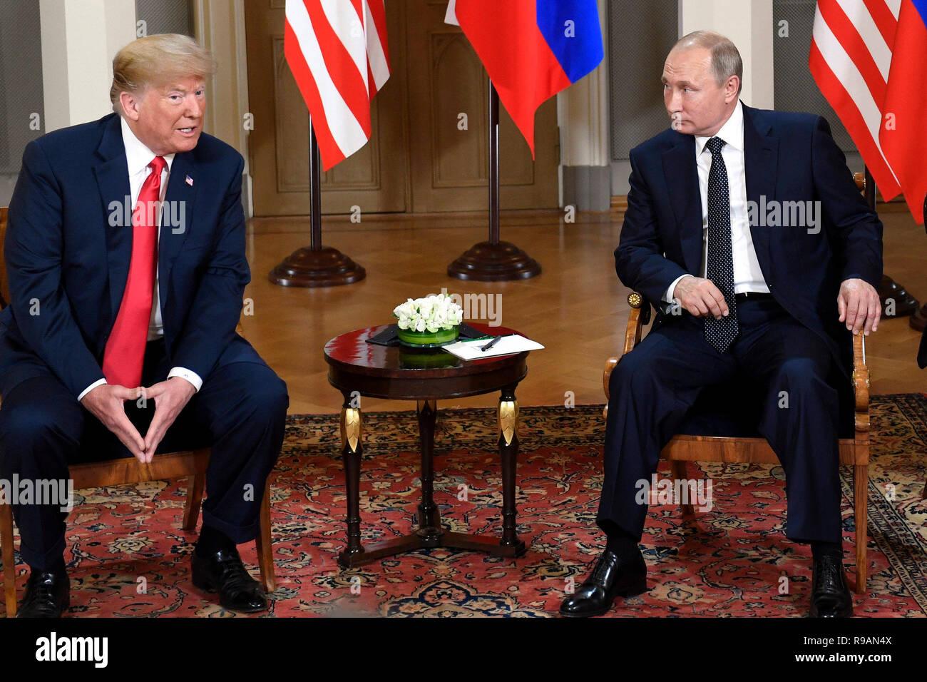 Beijing, Finland. 16th July, 2018. U.S. President Donald Trump (L) meets with his Russian counterpart Vladimir Putin in Helsinki, Finland, on July 16, 2018. Credit: Lehtikuva/Heikki Saukkomaa/Xinhua/Alamy Live News Stock Photo