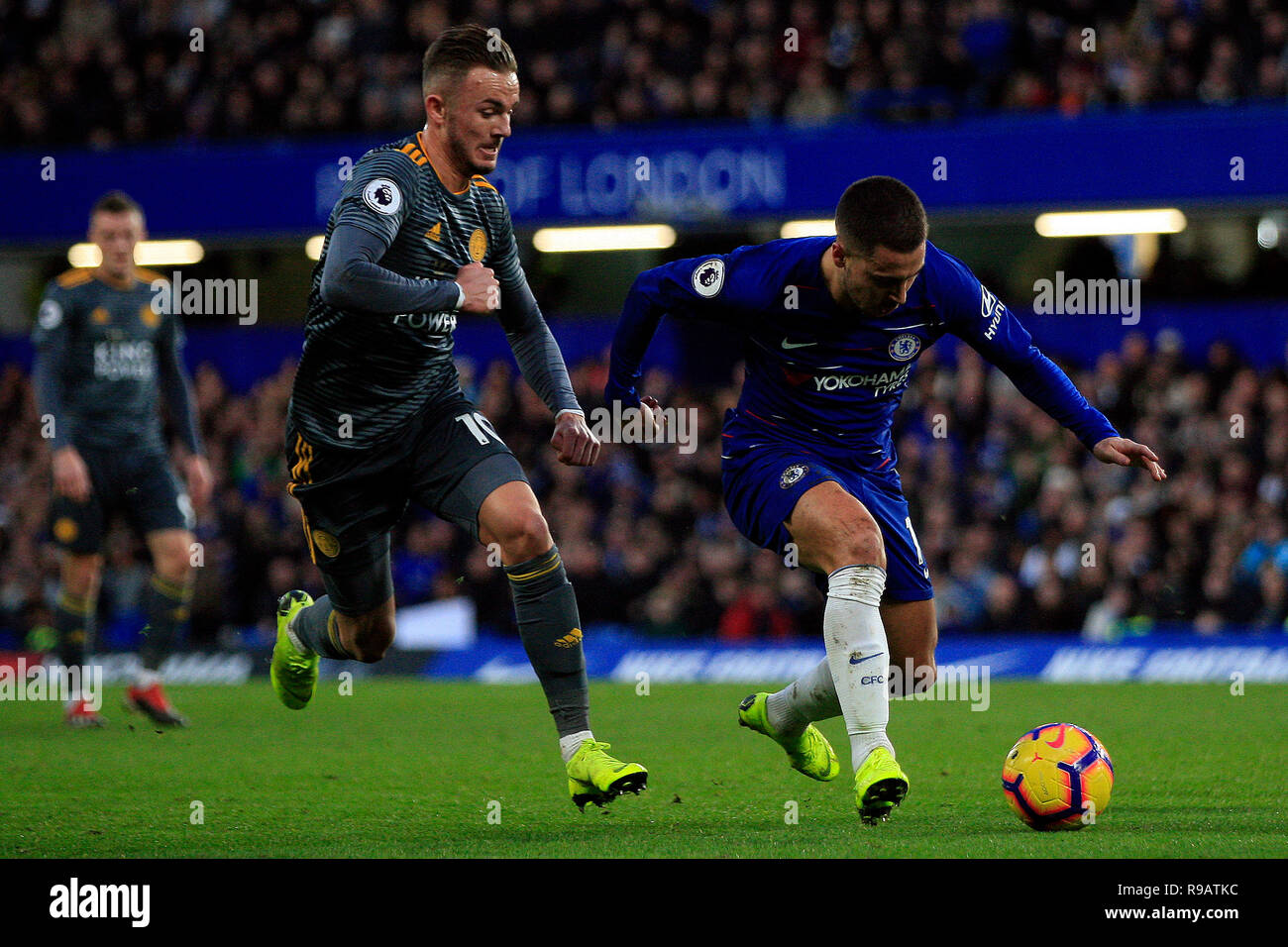 James Maddison of Leicester City (L)
