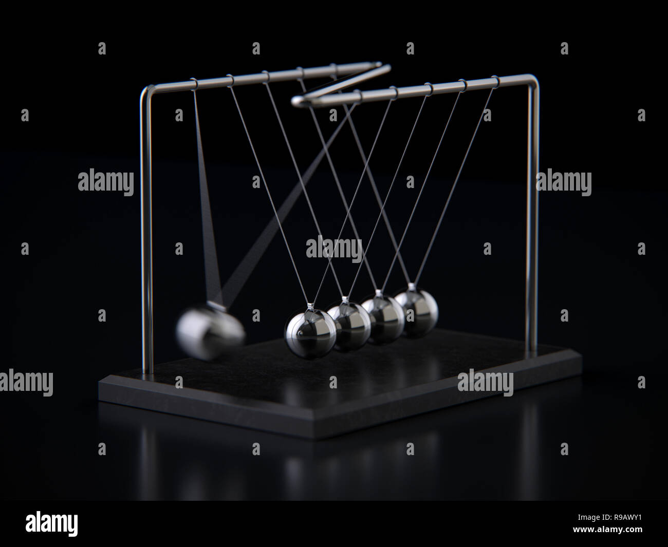 Balancing Balls Newton's Cradle, 3d rendering,conceptual image. Stock Photo