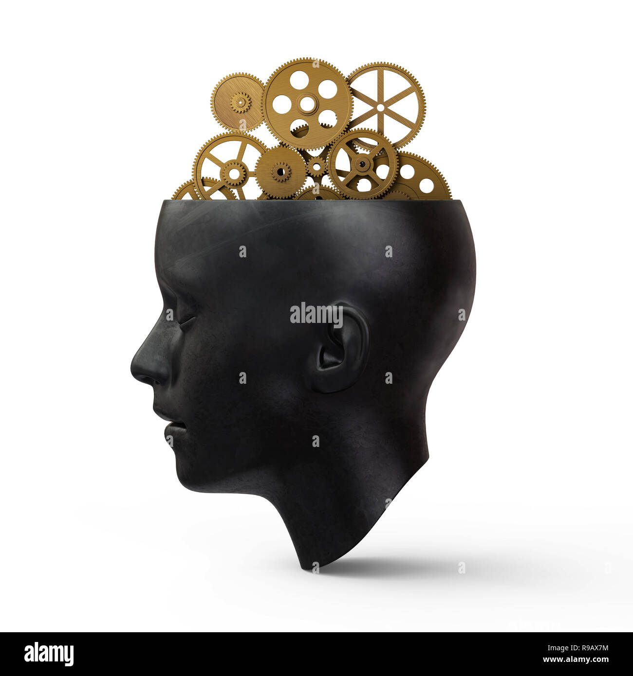 Head With Gears,3d rendering,conceptual image. Stock Photo