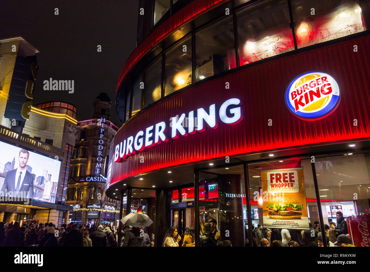 Exterior Of Burger King Fast Food Restaurant On Leicester Square At Night Stock Photo Alamy