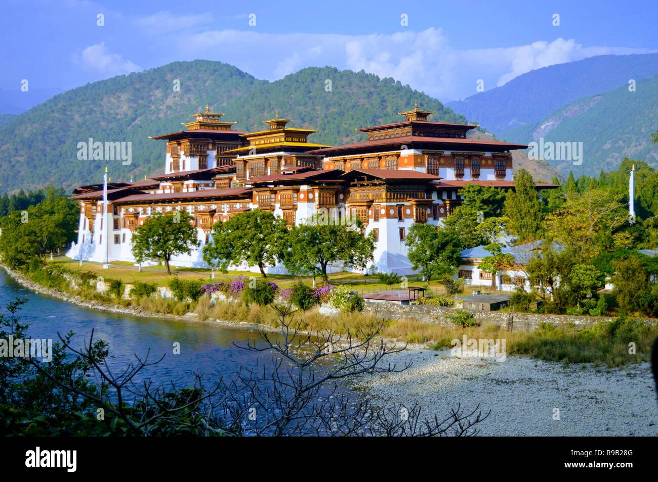 Punakha Dzong Bhutan. Administrative centre of Punakha District in Punakha, Bhutan - Stock Image