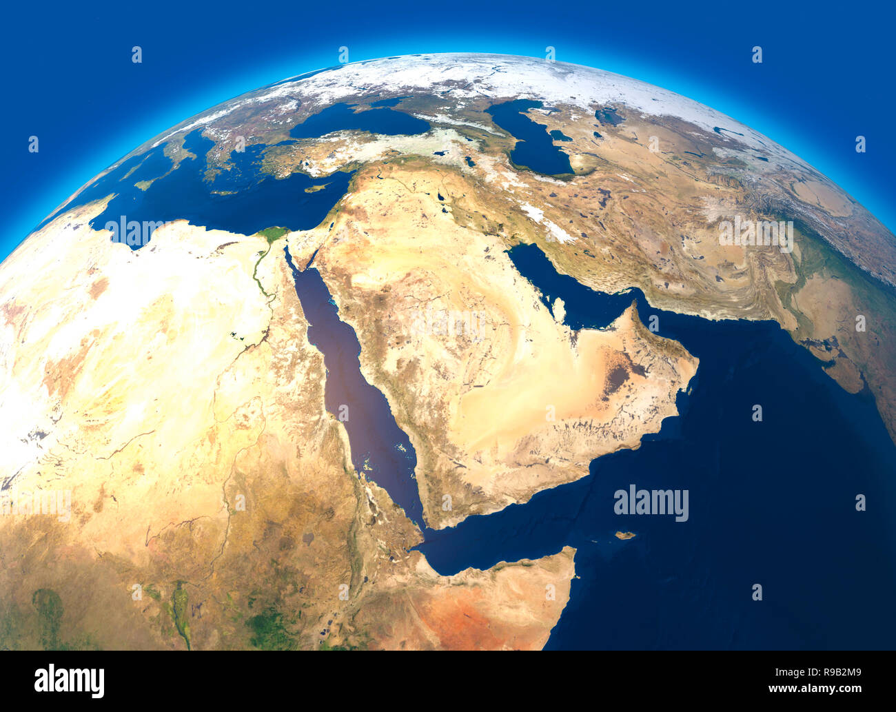 Physical map of the world, satellite view of the Middle East ...