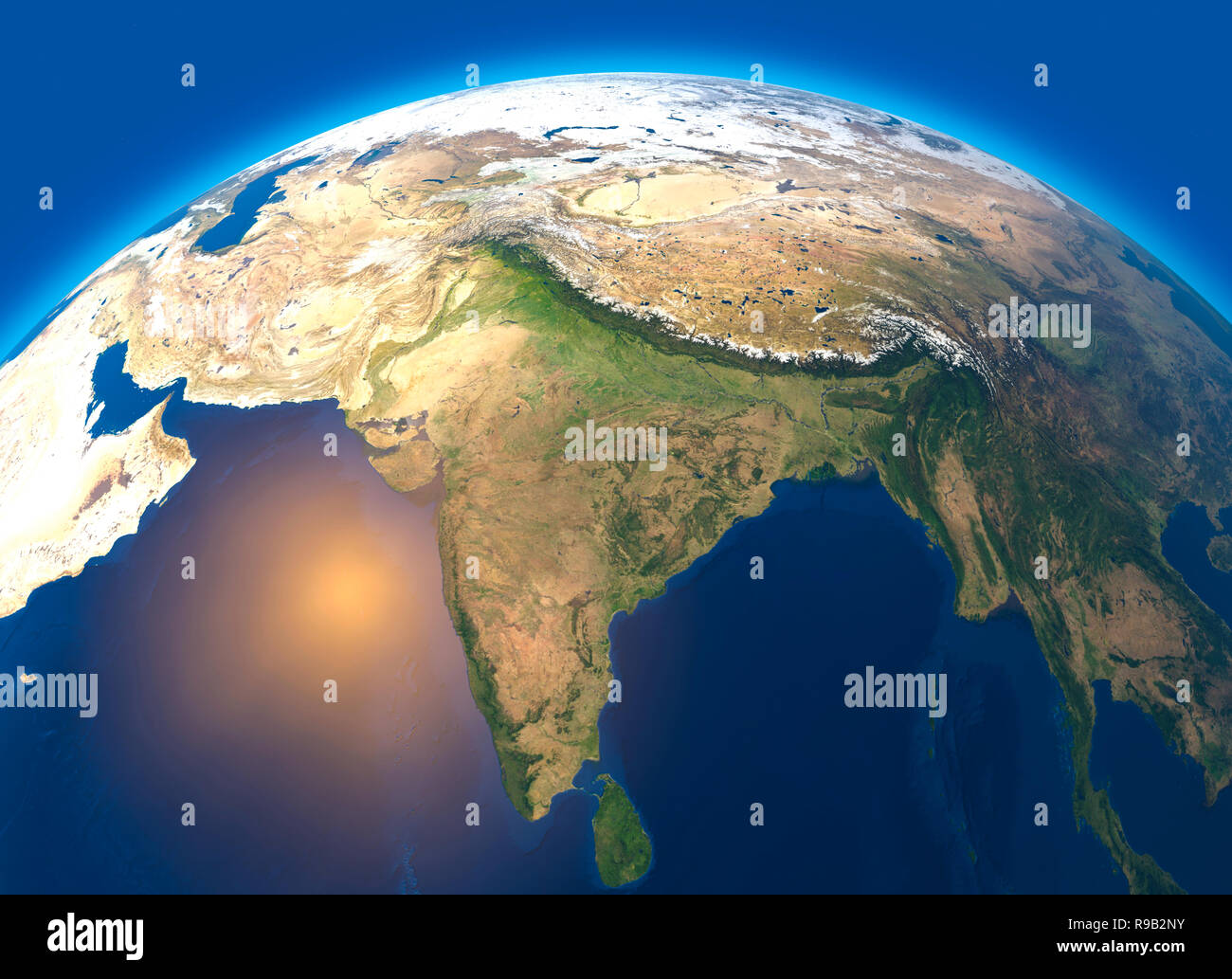 India Map Satellite View Physical map of the world, satellite view of India. Asia. Globe