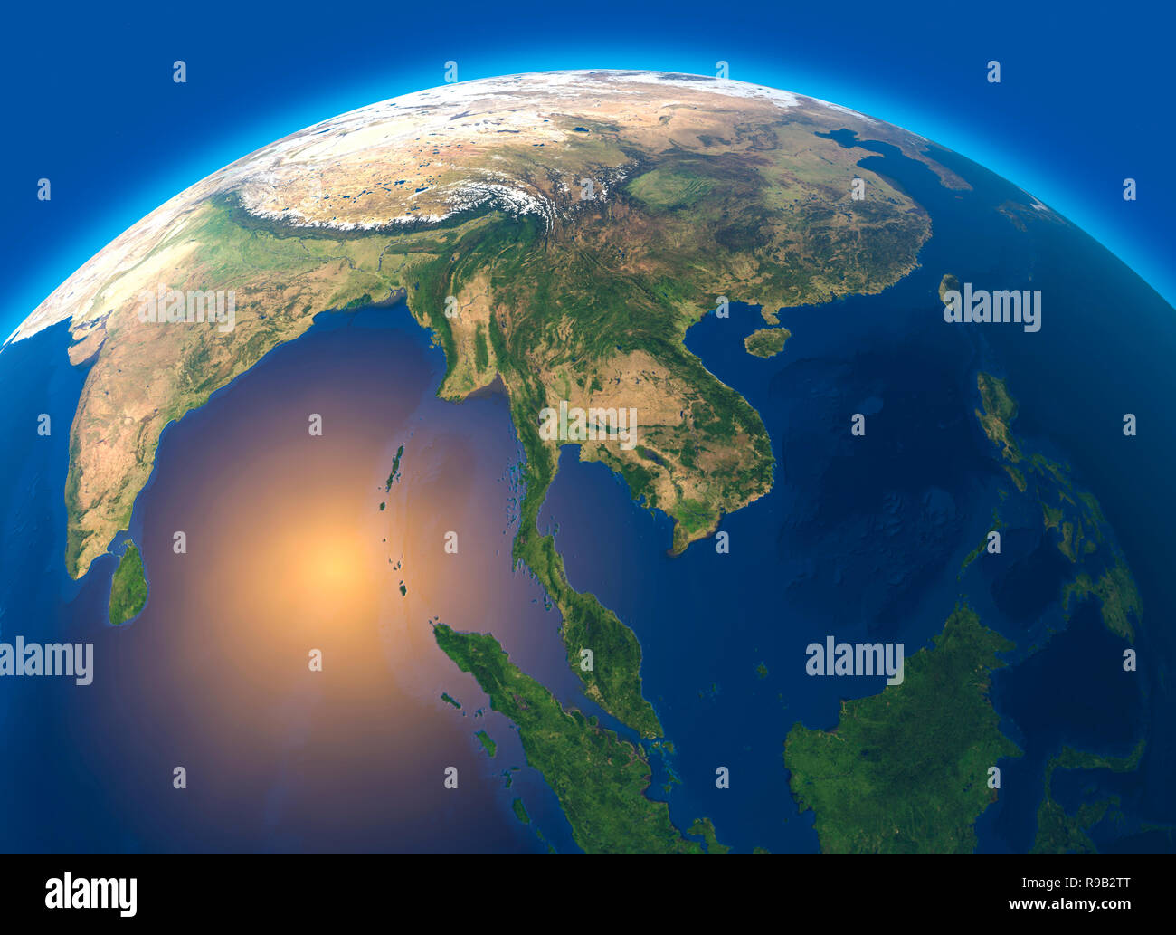 Physical Map Of The World Satellite View Of Southeast Asia Globe