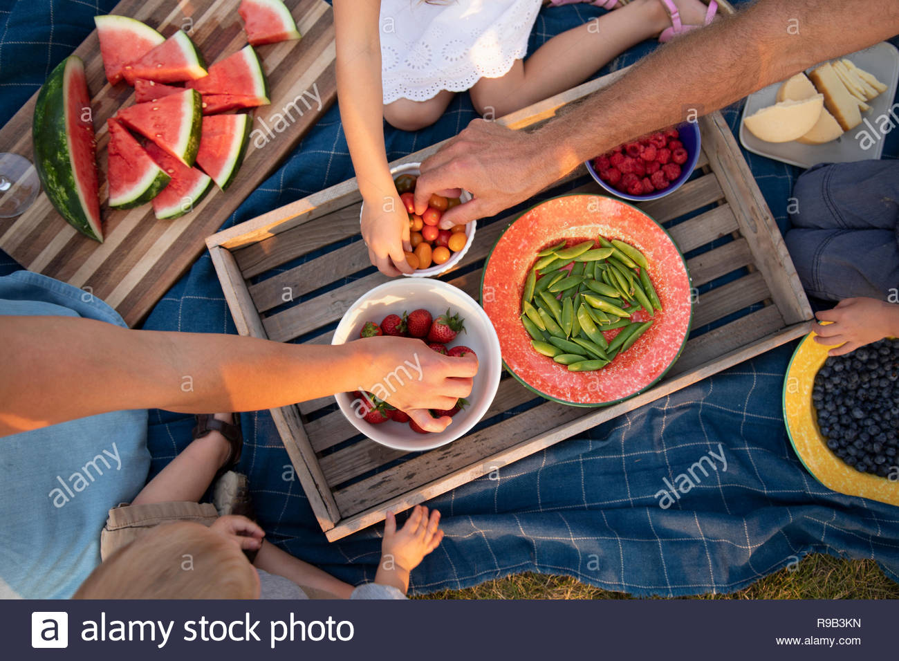View from above family enjoying picnic, eating fresh fruits and vegetables - Stock Image
