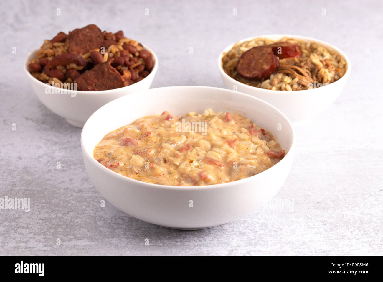 A Bowl Of Crawfish Etouffee With Gumbo And Red Beans And Rice On The Side Stock Photo Alamy