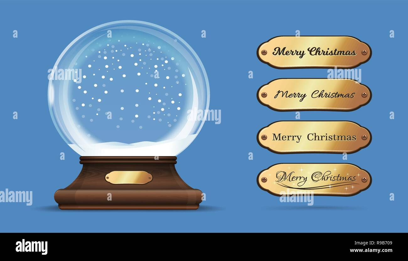 Christmas empty snow globe with interchangeable gold sign. Merry Christmas. Empty snow globe with replaceable inscriptions. Vector illustration - Stock Image