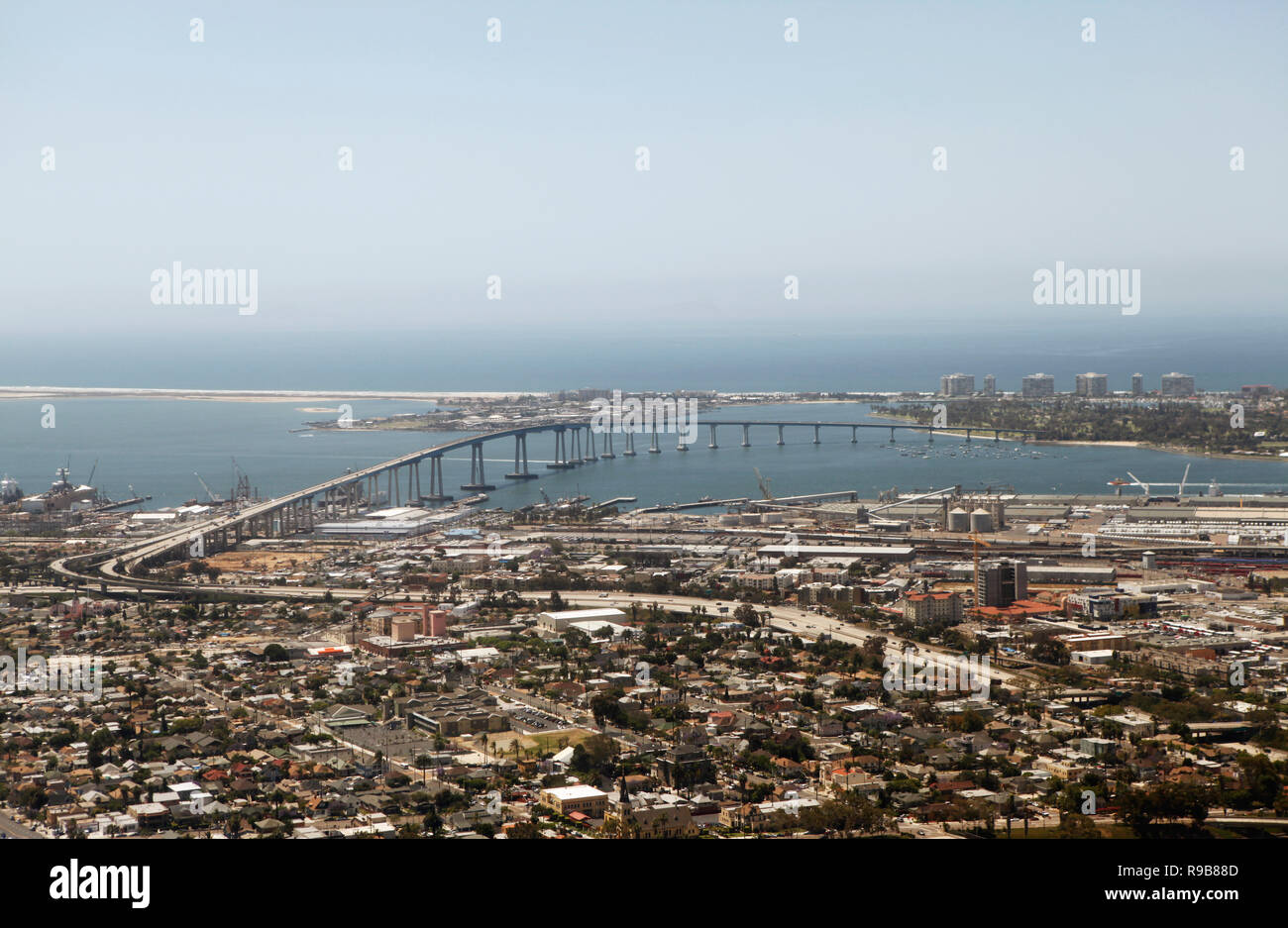 USA, California, San Diego, a view of Downtown San Diego with the bridge to Coronado Island in the distance - Stock Image