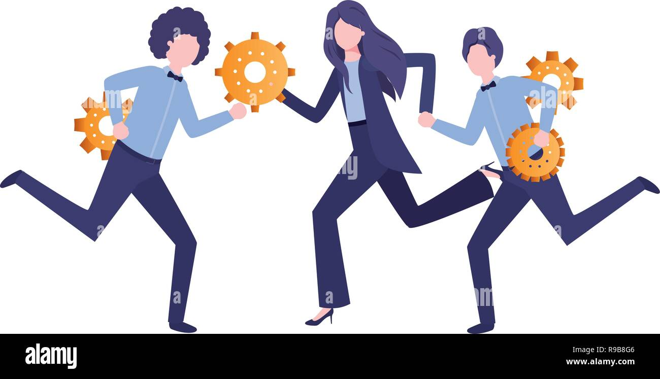 group of business with gear avatar character - Stock Vector