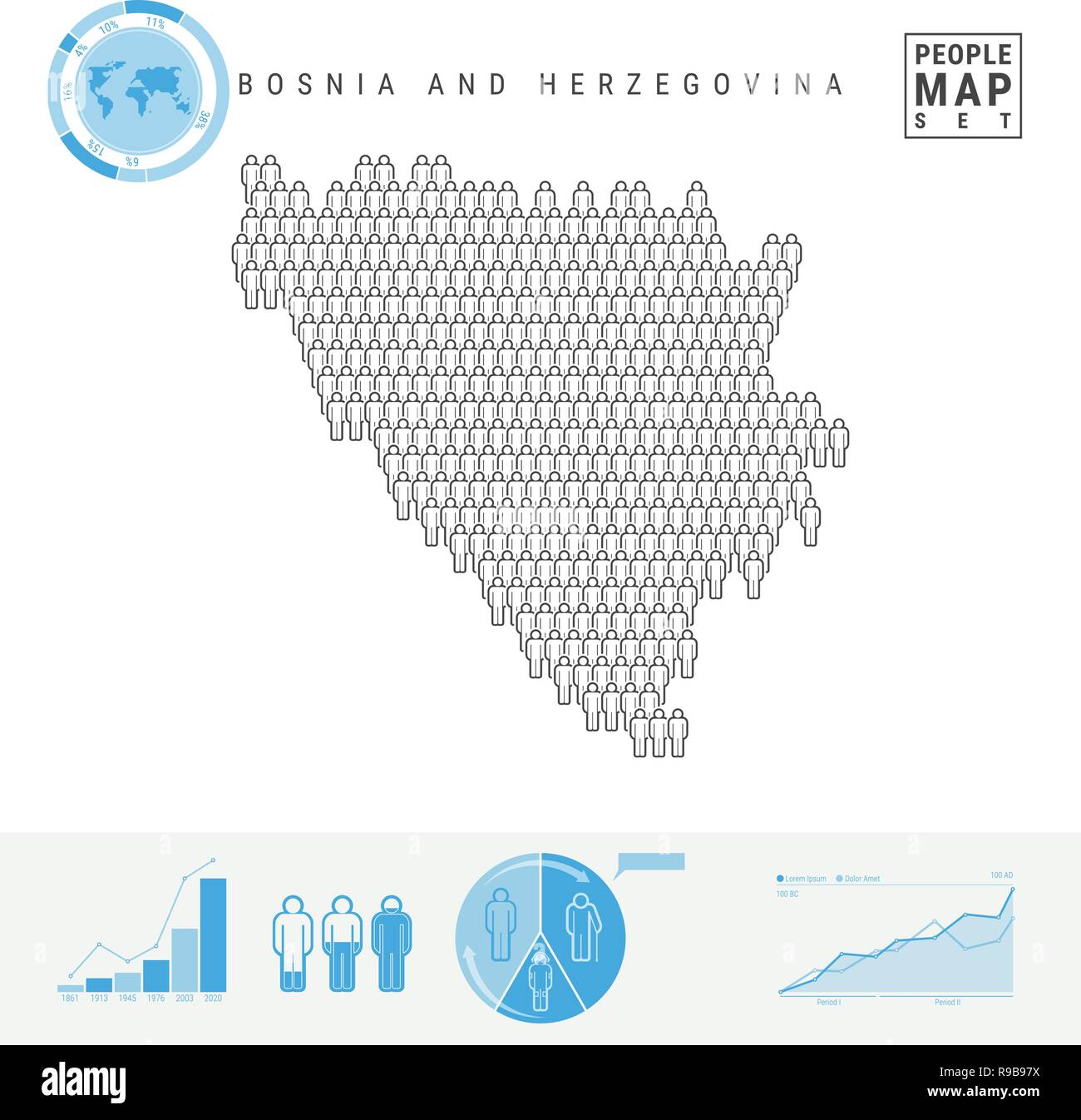 Bosnia and Herzegovina People Icon Map. People Crowd in the Shape of a Map of Bosnia and Herzegovina. Stylized Silhouette. Population Growth, Aging In - Stock Vector