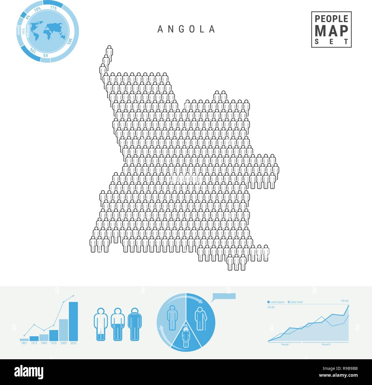 Angola People Icon Map. People Crowd in the Shape of a Map of Angola. Stylized Silhouette of Angola. Population Growth and Aging Infographic Elements. - Stock Vector
