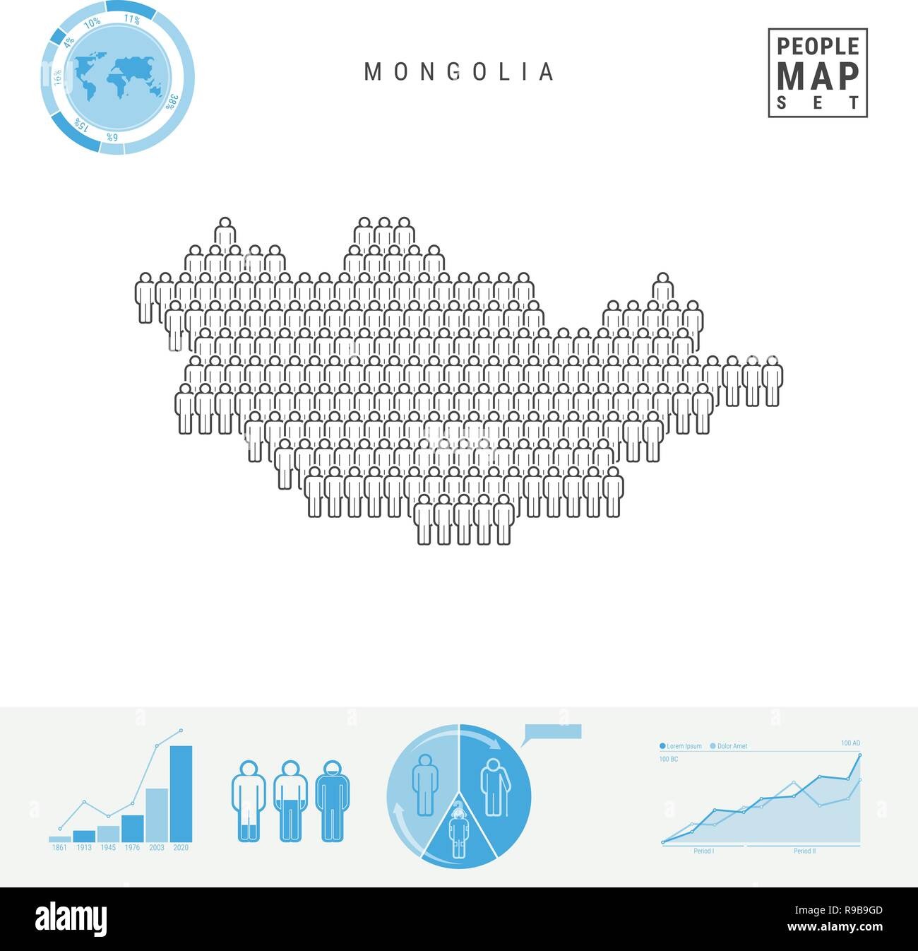 Mongolia People Icon Map. People Crowd in the Shape of a Map of Mongolia. Stylized Silhouette of Mongolia. Population Growth and Aging Infographic Ele - Stock Vector
