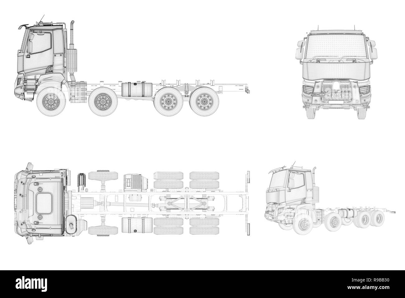 Wireframe generic and brandless truck in four view, 3D illustration - Stock Image