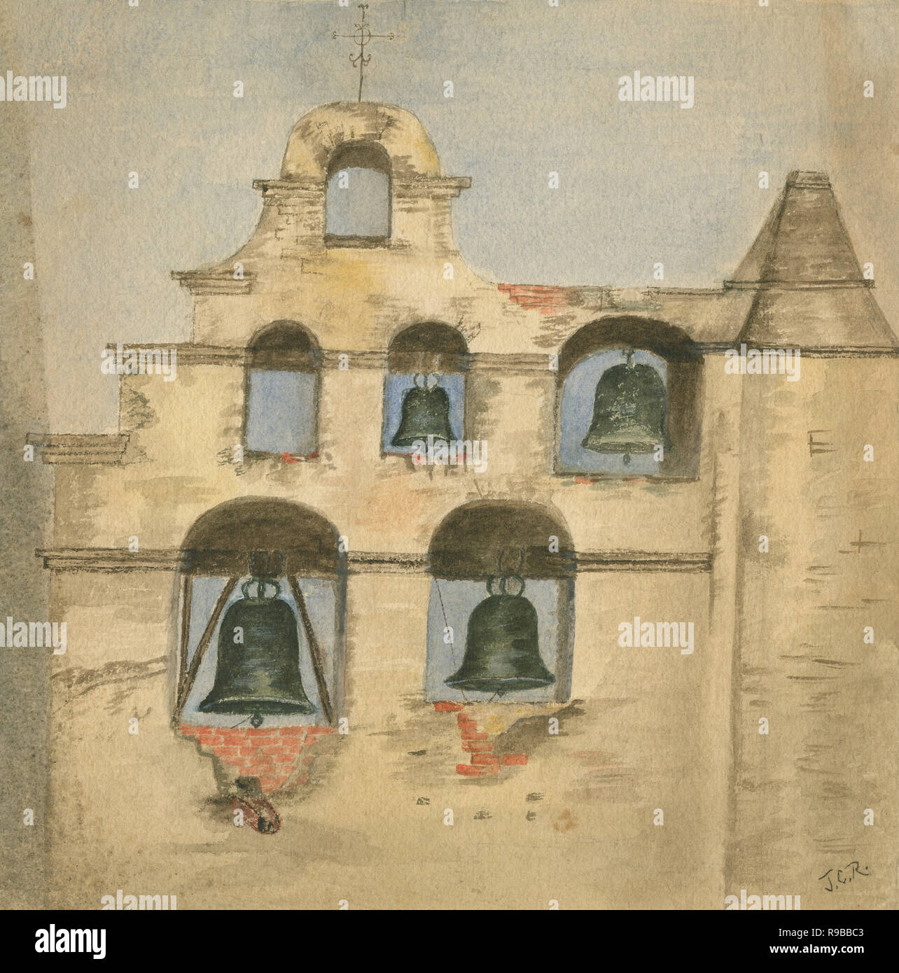 Antique c1890 watercolor painting, the bell wall at the Mission San Gabriel Arcangel. Mission San Gabriel Arcángel is a Roman Catholic mission and a historic landmark in San Gabriel, California. The settlement was founded by Spaniards of the Franciscan order in 1771. SOURCE: ORIGINAL PAINTING - Stock Image
