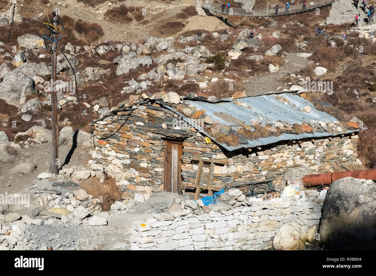 Small building housing a hydro electric plant for thr village of Samdo in the Nepal Himalayas - Stock Image