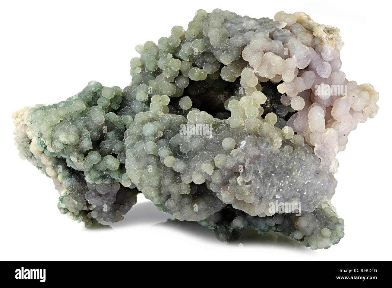 chalcedony (botryoidal grape agate) from Mamuju, Indonesia isolated on white background - Stock Image