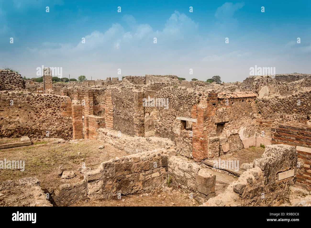 Pompeii ruins. Remains of ancient houses destroyed by eruption of Mount Vesuvius, Italy. Pompeii archaeological site. Stock Photo
