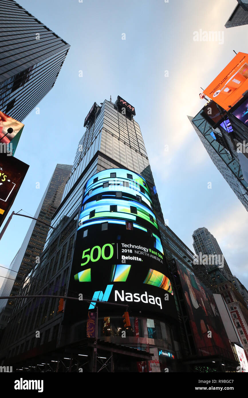 The headquarters of the NASDAQ Stock Exchange, the second largest trading market in the world in Times Square - Stock Image