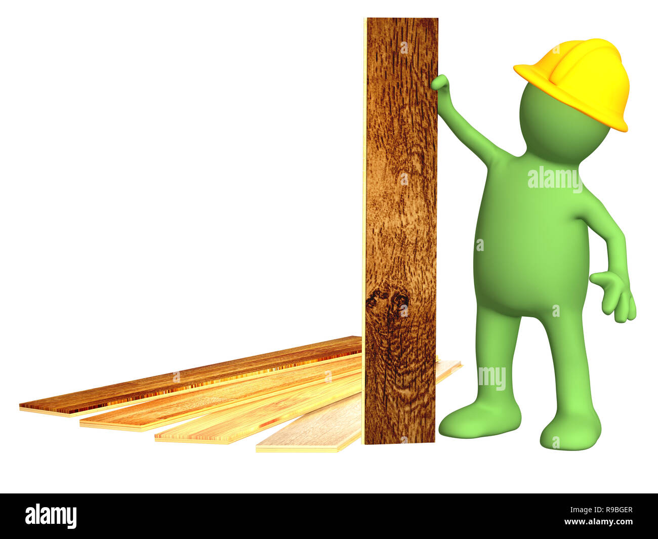 Puppet with new parquet planks. Isolated over white - Stock Image