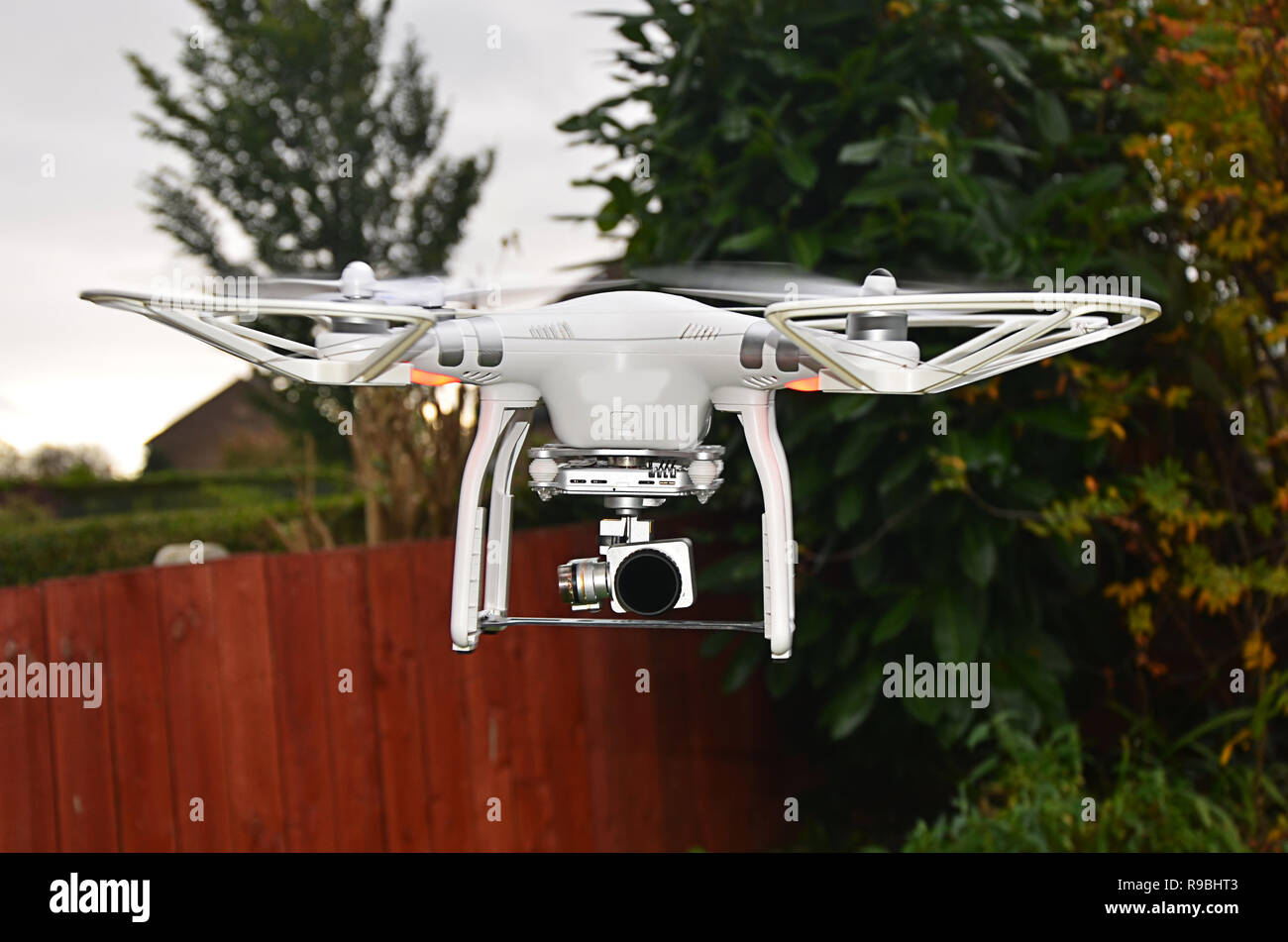 unmanned aircraft, drone, quad copter camera drone - Stock Image