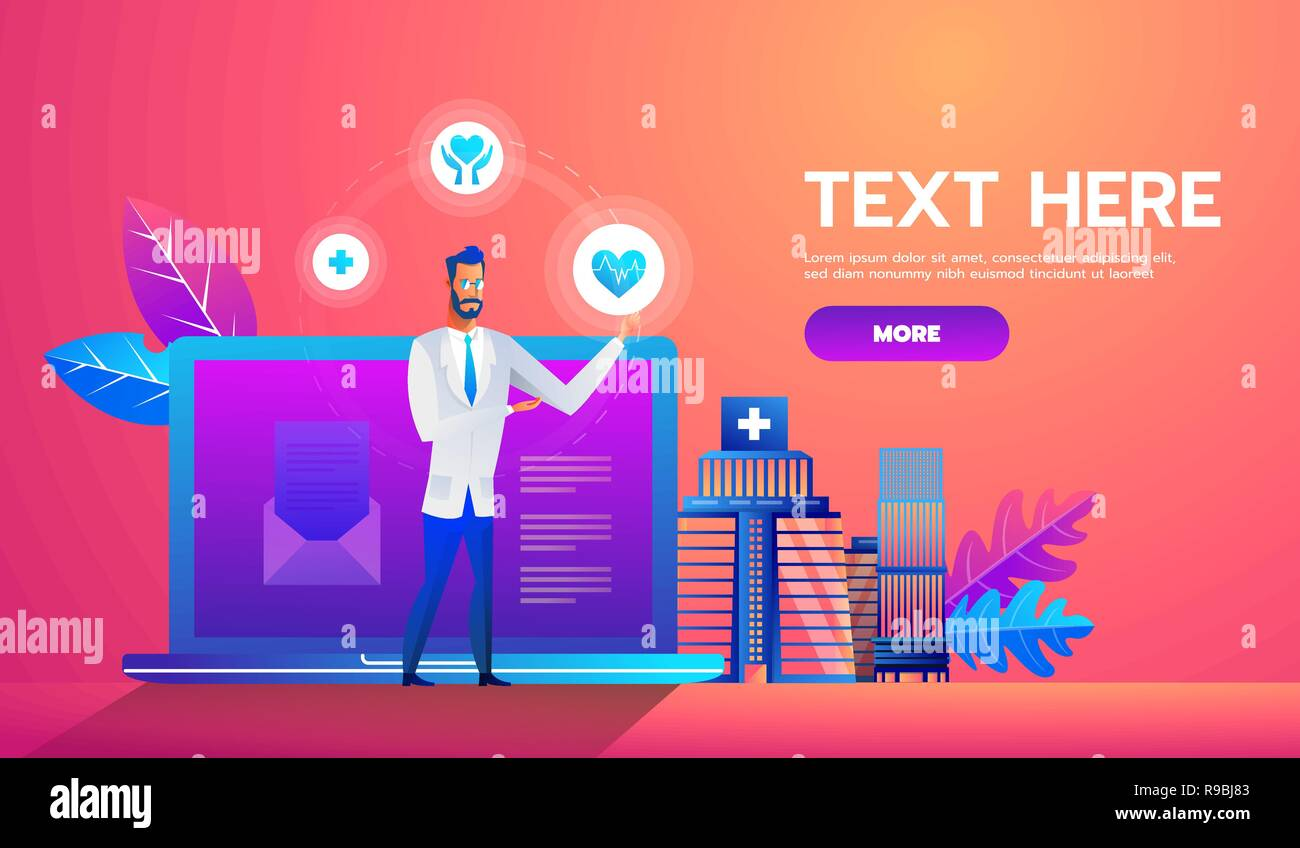 Online diagnosis concept banner with characters. Can use for web banner, infographics, hero images. Flat isometric vector illustration - Stock Image