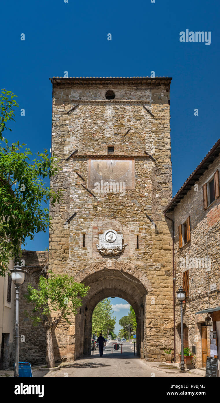 Porta Cannara, 13th century, medieval gate, in historic center of Bevagna, Umbria, Italy - Stock Image