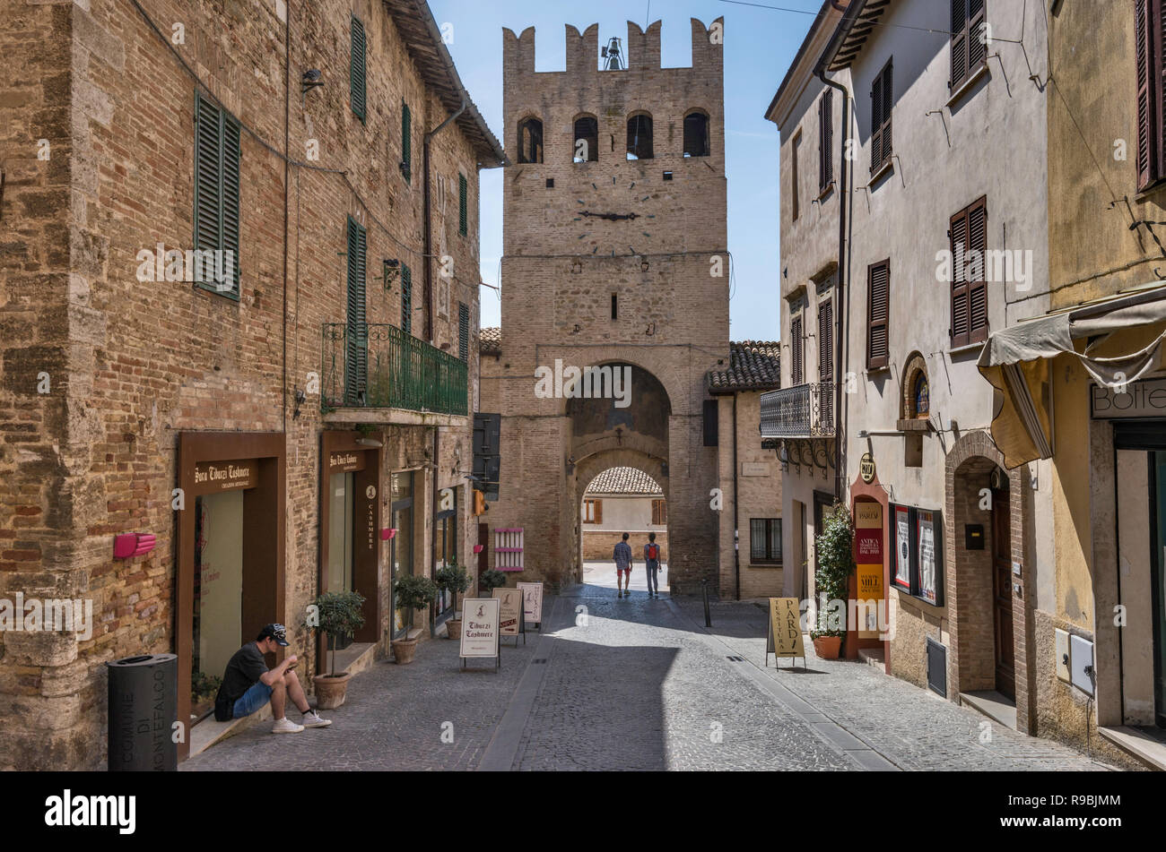 Porta Sant Agostino, medieval gate at Corso Goffredo Mameli, street in historic center of Montefalco, Umbria, Italy - Stock Image