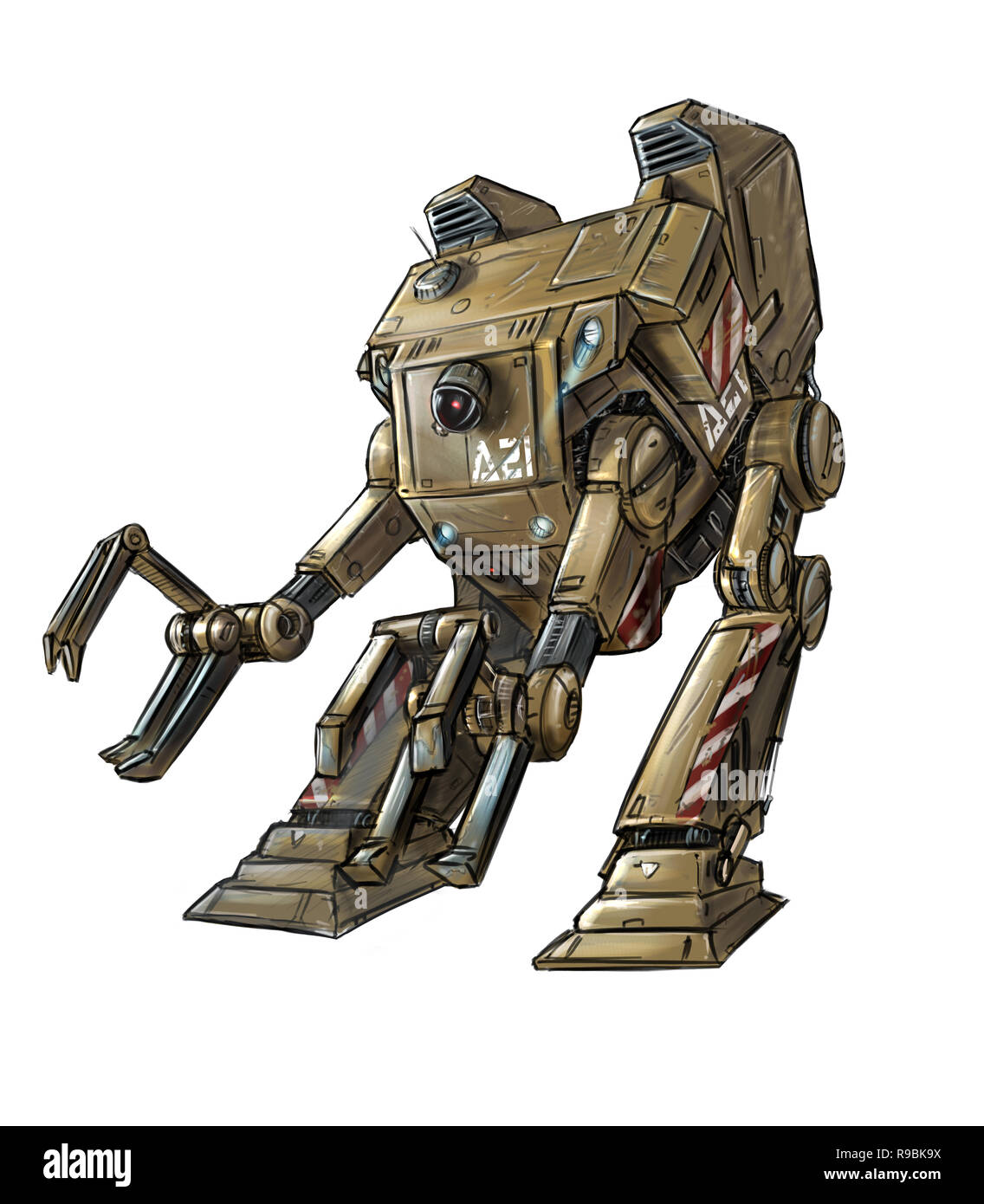 Concept Art Science Fiction Illustration Of Robotic Loader
