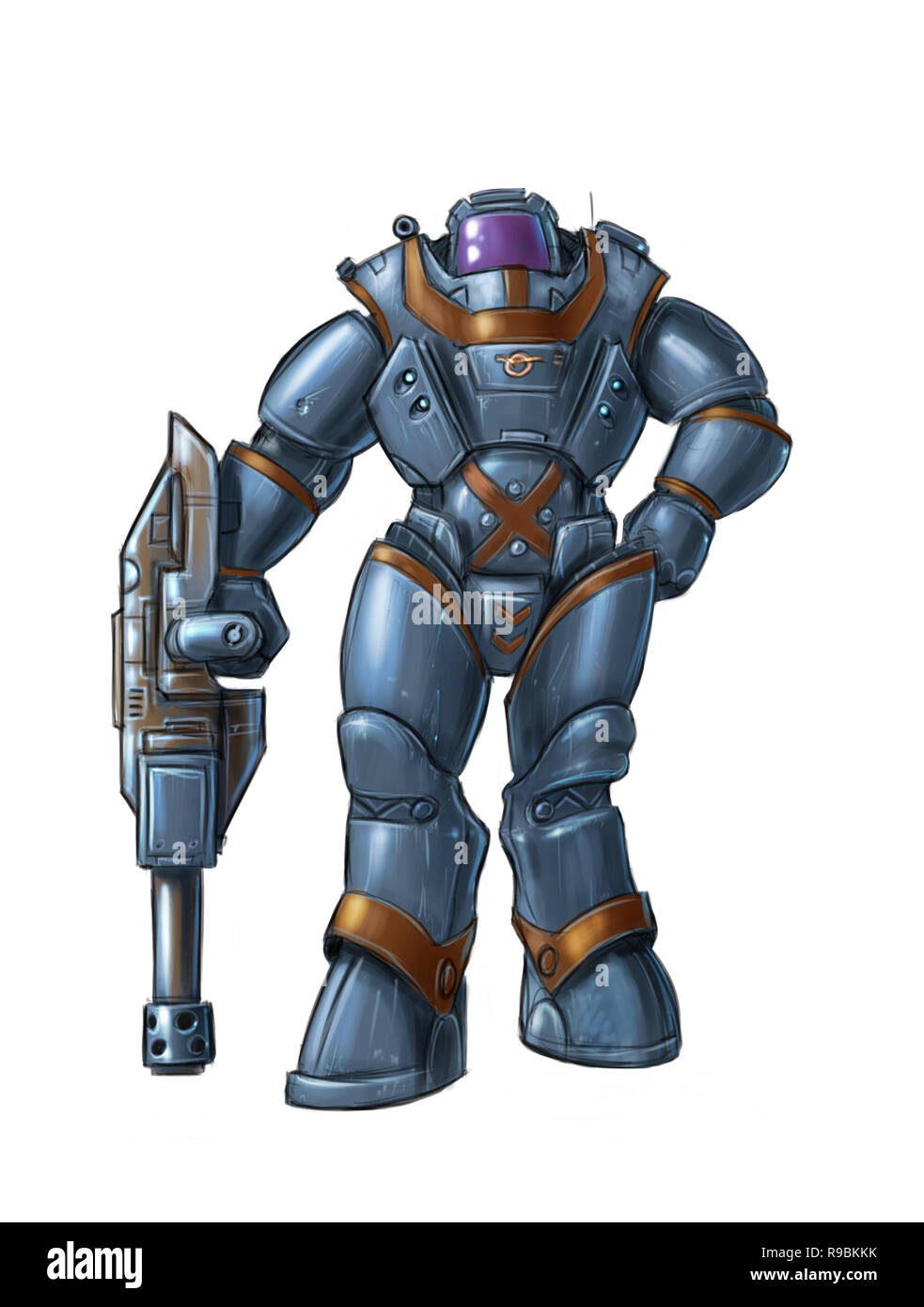 Concept Art Science Fiction Illustration of Futuristic Soldier Character in Heavy Armor or Spacesuit Holding Gun - Stock Image