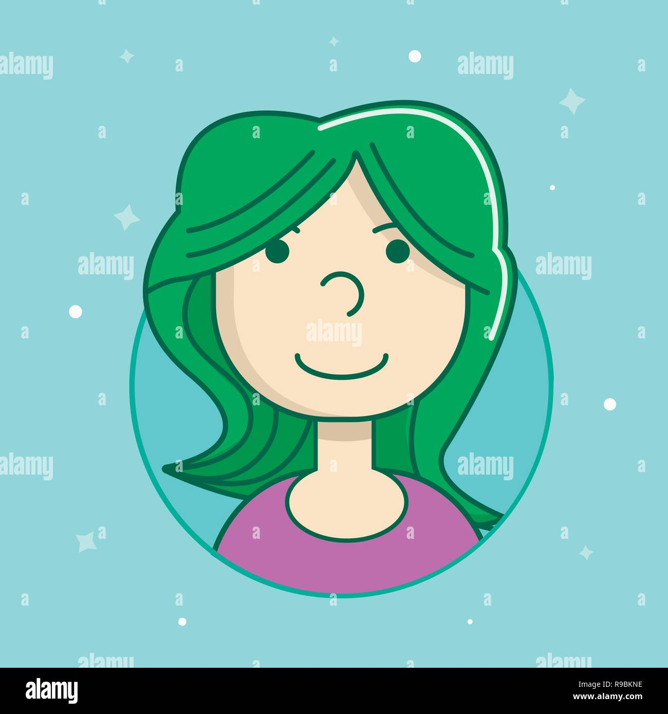 Female user avatar. Icon of attractive girl face. Flat filled outline vector portrait Stock Vector