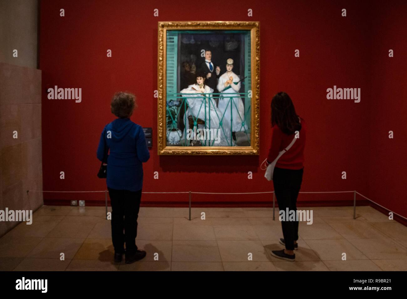 Paris (75), 7éme Arrondissement. Musée d'Orsay. Salle des impressionnistes. 'Le Balcon', tableau réalisé par le peintre Édouard Manet et présenté au S - Stock Image