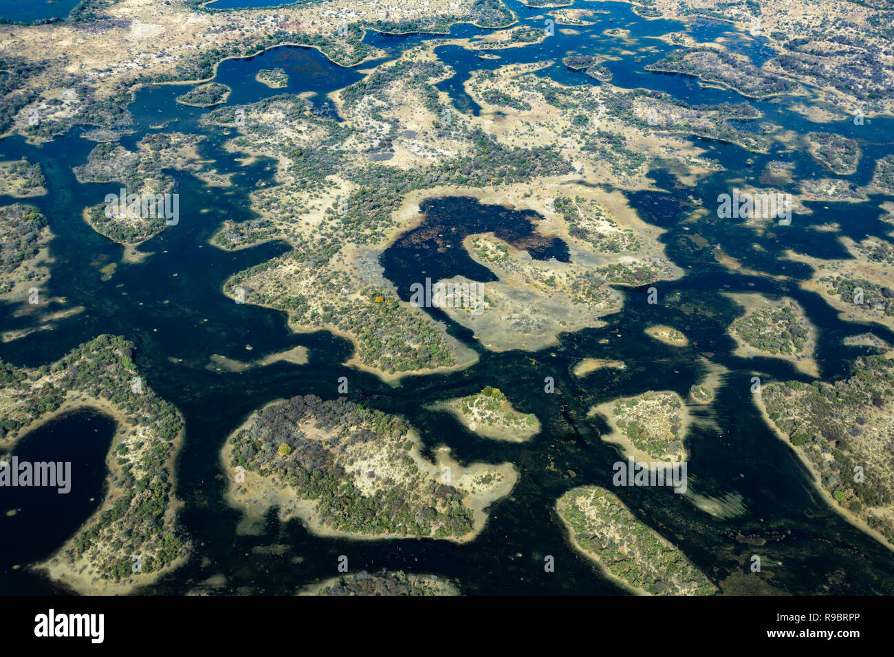 Okavango delta, aerial view, Botswana - Stock Image