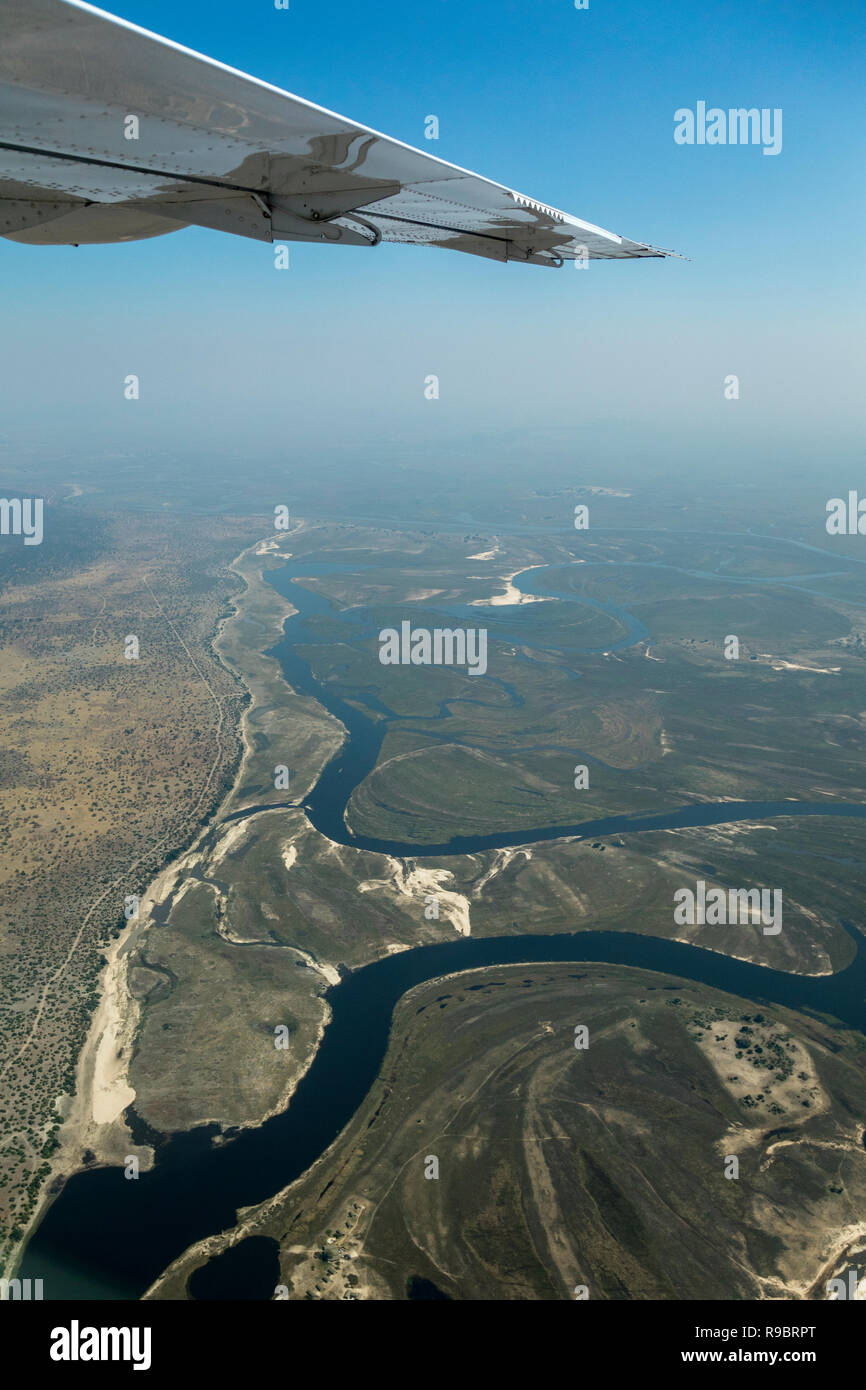 Chobe river from aircraft, Botswana - Stock Image