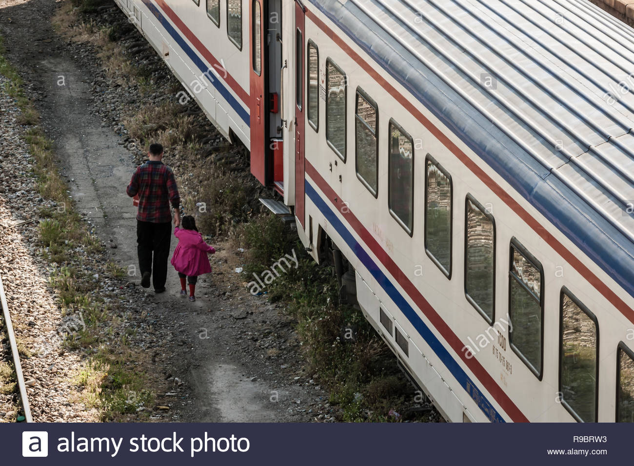 Istanbul, Turkey - May 21, 2009: Spare intercity train wagons on the rails - Stock Image