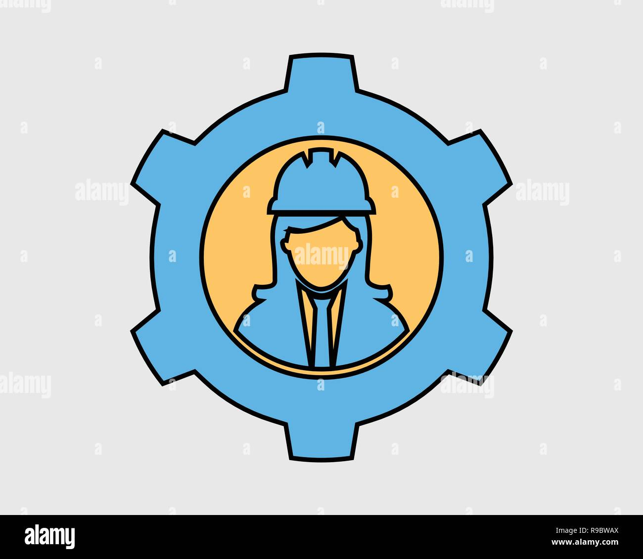 Colorful Mechanical Engineer Icon Female Symbol With Gear Sign