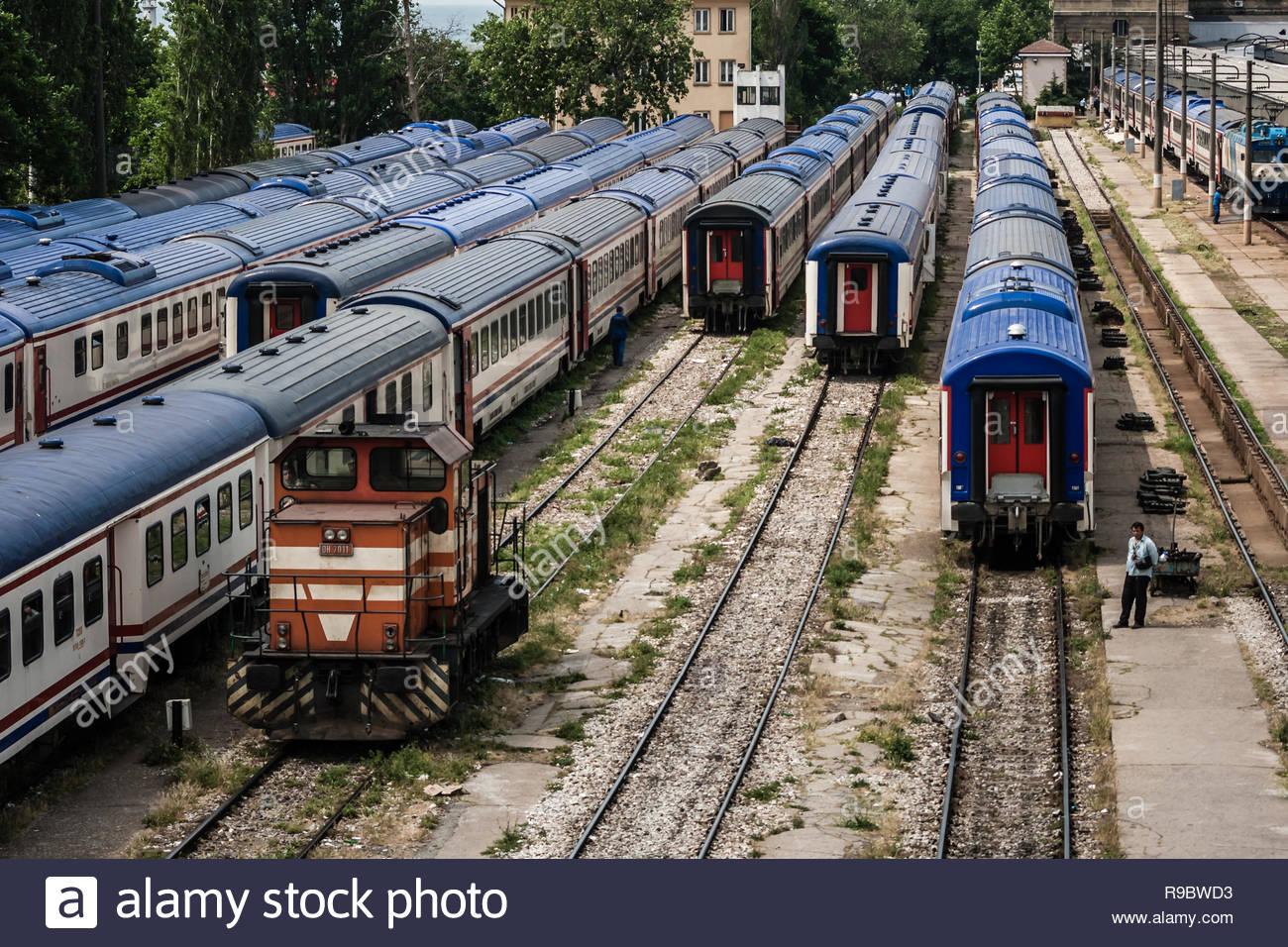 Istanbul, Turkey - Jun 1, 2009: Spare intercity train wagons on the rails - Stock Image
