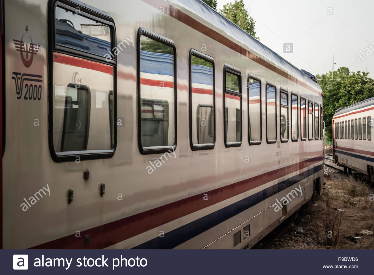 Istanbul, Turkey - May 20, 2008: Spare intercity train wagons on the rails - Stock Image