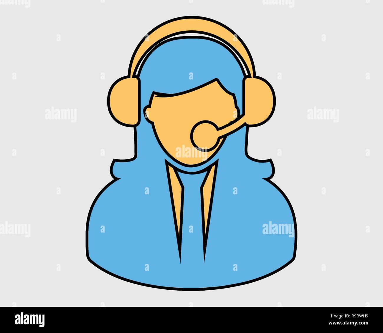 Coloroful Female Customer service icon. - Stock Image