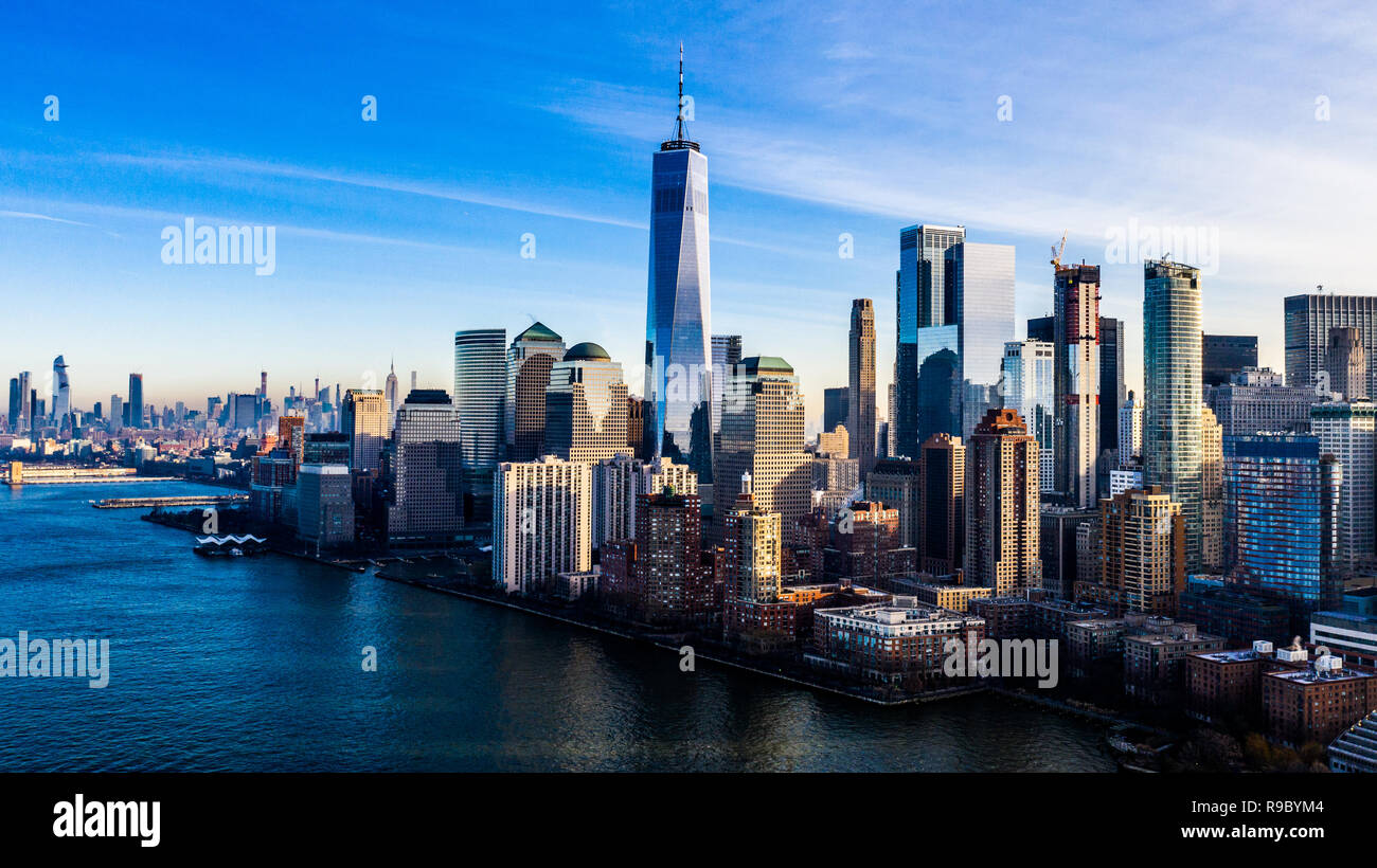 Aerial View Of One World Trade Center And Downtown Manhattan New York City Usa Stock Photo Alamy