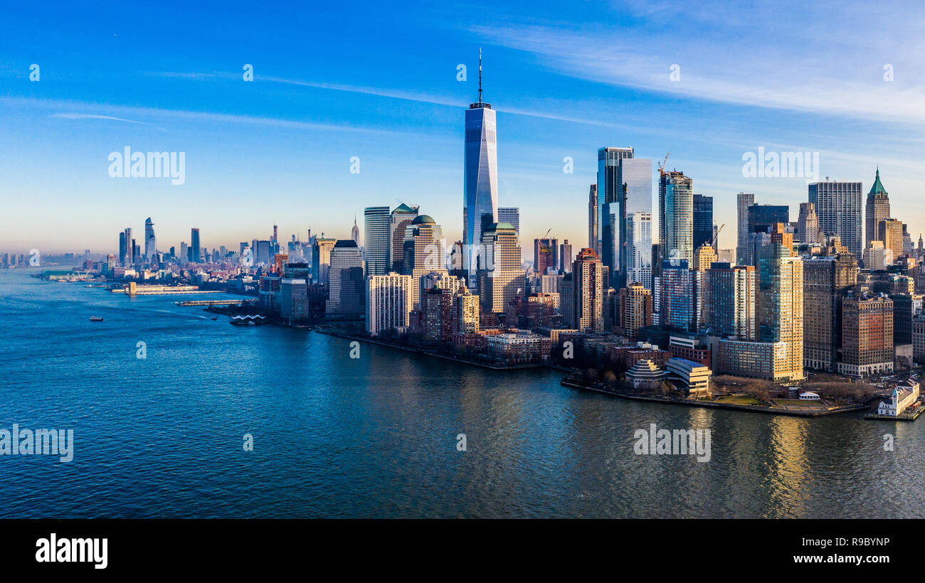 Aerial view of One World Trade Center and downtown Manhattan, New York City, USA - Stock Image