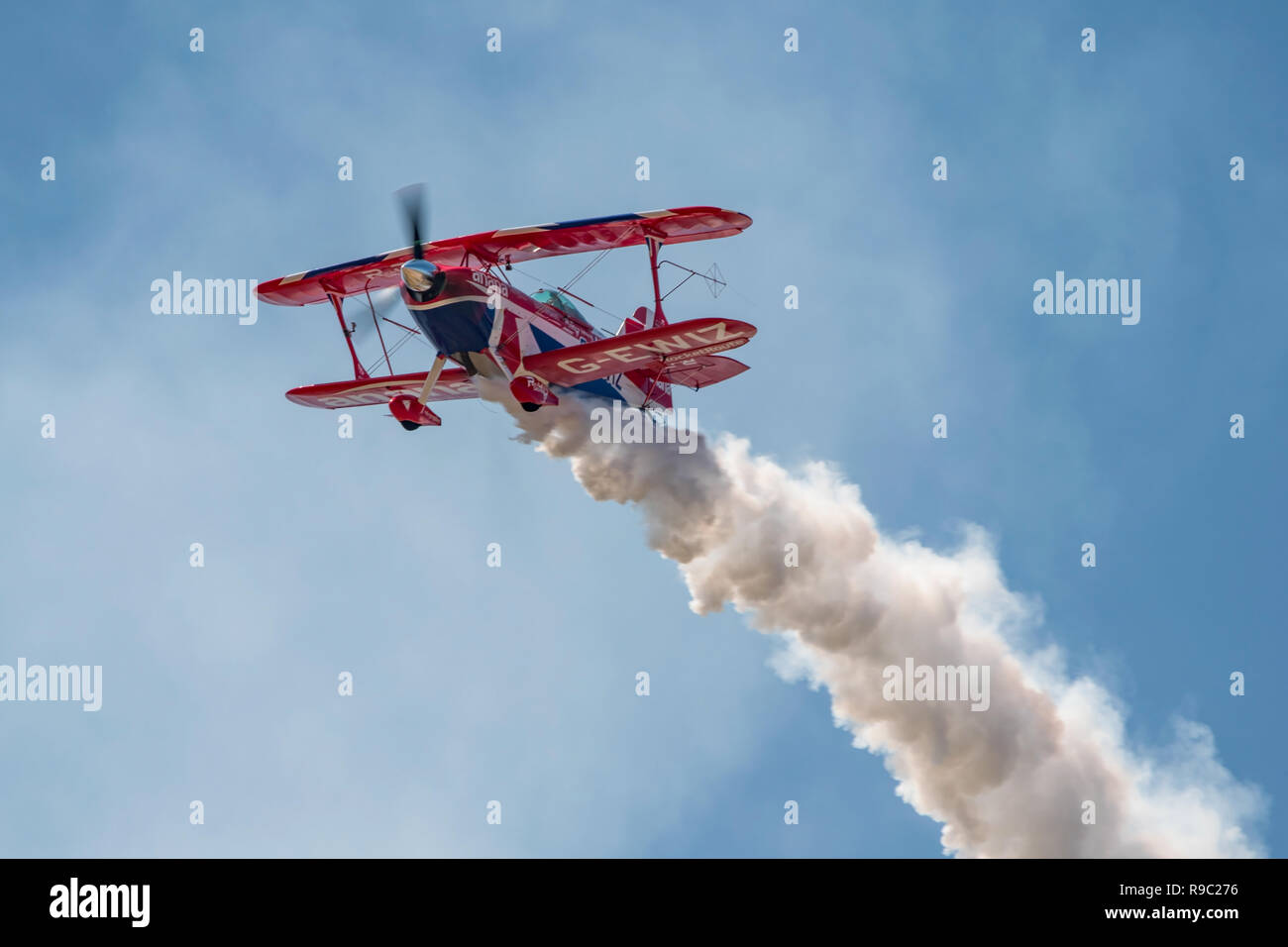 Rich Goodwin displaying the Pitts Special s-2s 'Muscle Biplane' at the RNAS Yeovilton International Air Day, UK on the 7th July 2018. - Stock Image